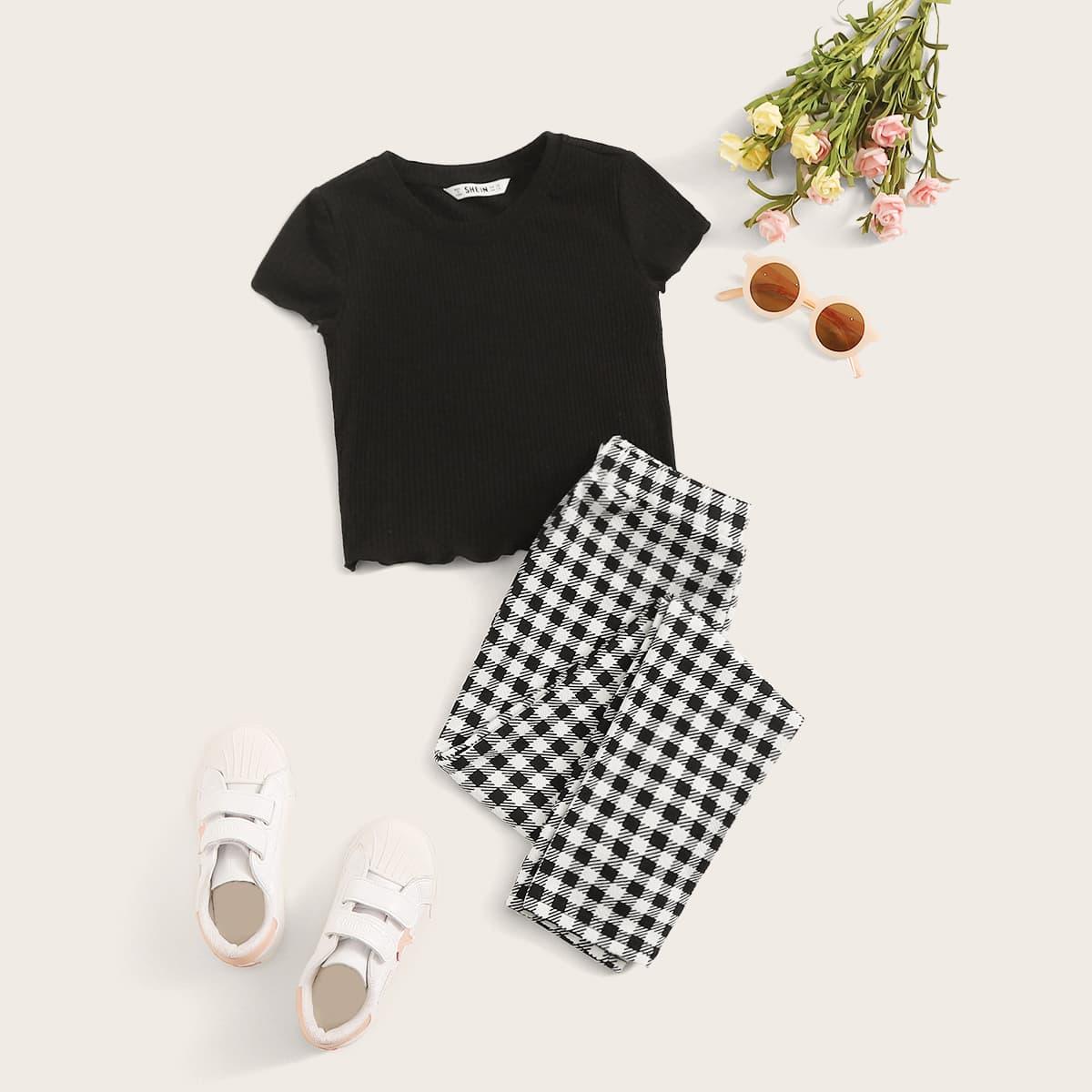 Клетчатые брюки и топ с оригинальной отделкой для девочек от SHEIN