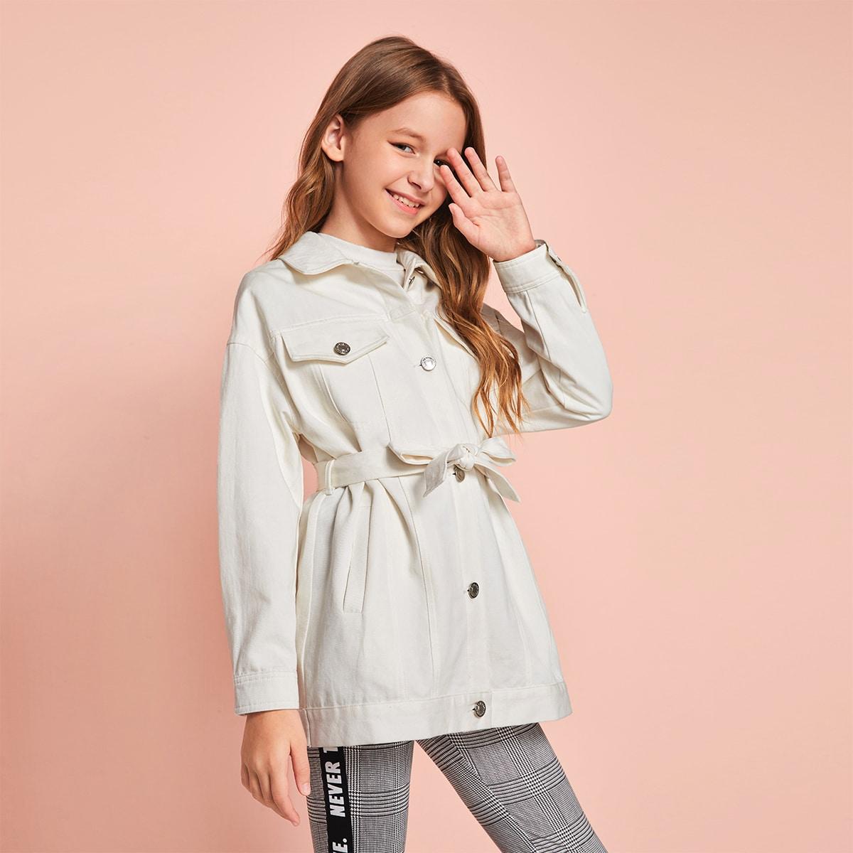Однобортное пальто с поясом для девочек от SHEIN