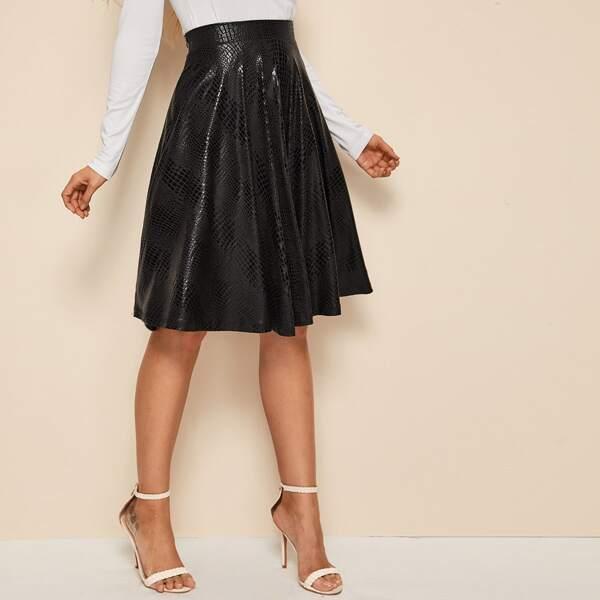 Crocodile Embossed Flared Skirt, Black