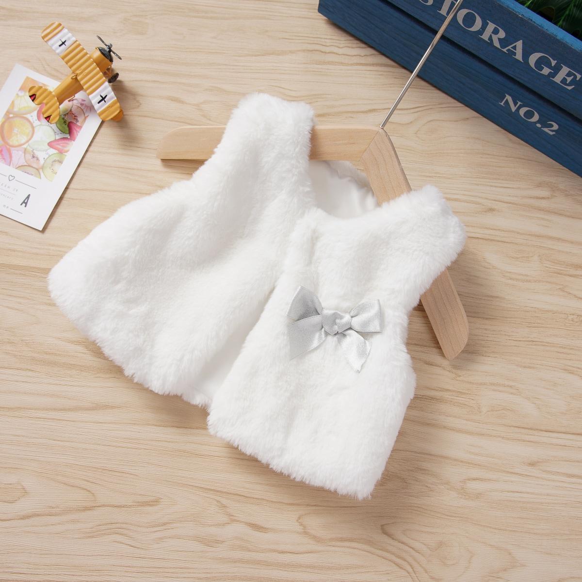 Белый С бантм перед Одноцветный Повседневный Пальто для маленьких девочек от SHEIN