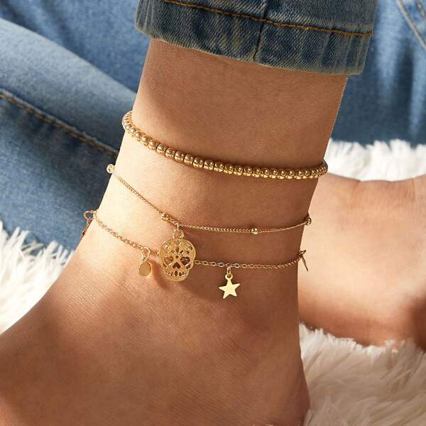 3pcs Skull & Star Decor Chain Anklet, Gold