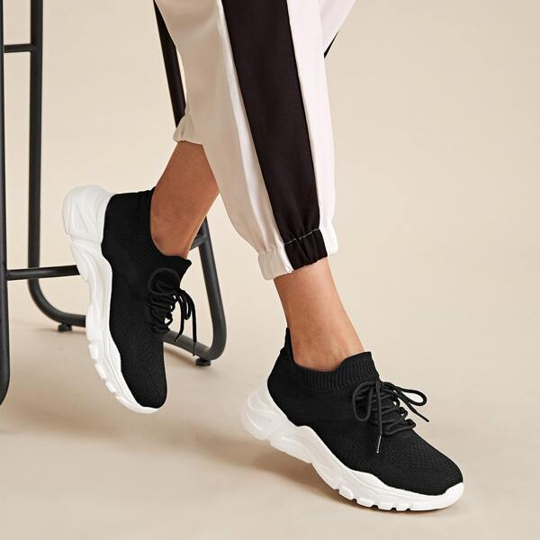 Two Tone Lace-up Front Knit Chunky Sneakers, Black and white