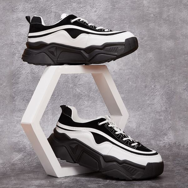 Two Tone Lace-up Front Chunky Sneakers, Black and white