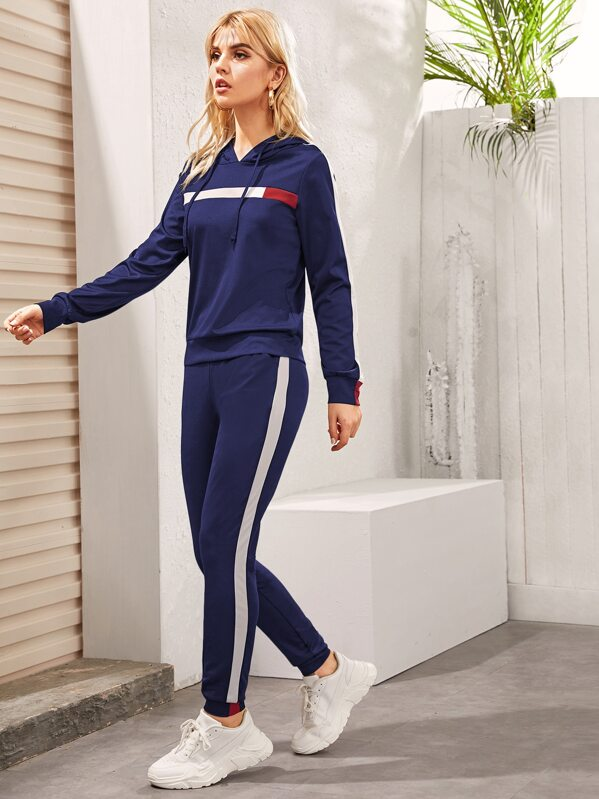 Contrast Panel Drawstring Hoodie & Sweatpants, Navy, Tasha