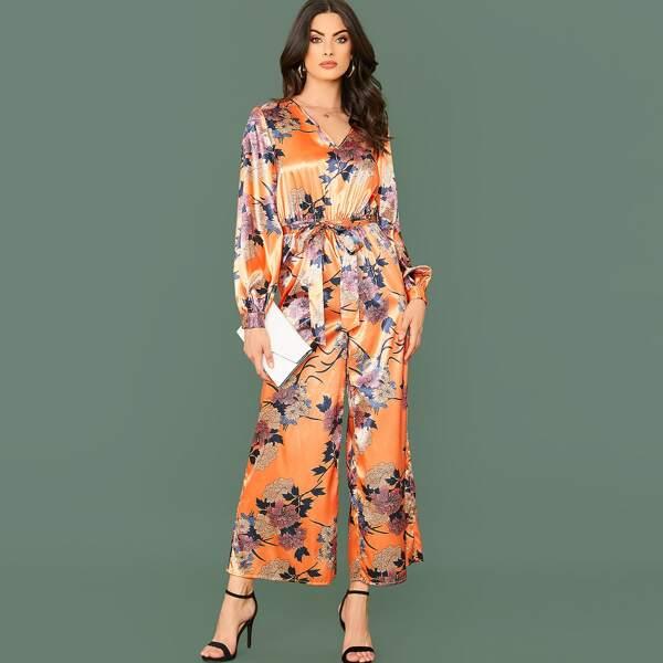 Self Belted Wide Leg Floral Print Satin Jumpsuit, Orange