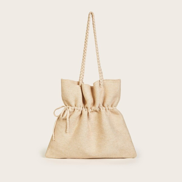 Drawstring Detail Knit Tote Bag, Khaki