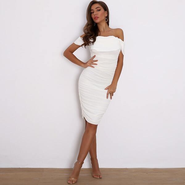 Joyfunear Zip Back Ruched Bardot Midi Bodycon Dress, White