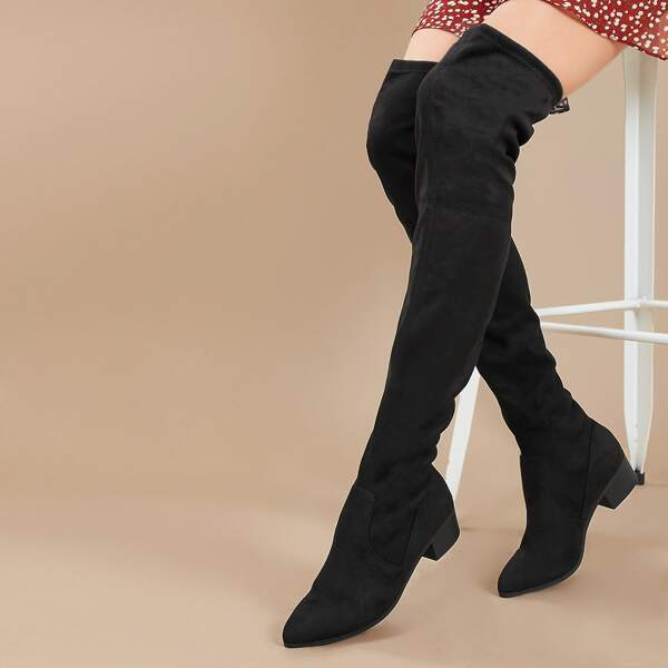 Pointy Toe Low Block Heel Thigh High Boots, Black