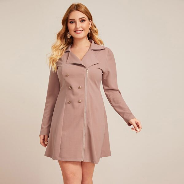 Plus Zipper Front Double Breasted Blazer Dress, Pink pastel