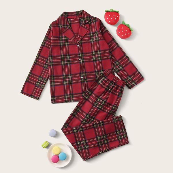 Girls Plaid Button-up PJ Set, Burgundy