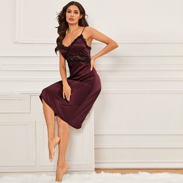 Contrast Lace Cami Night Dress, Burgundy