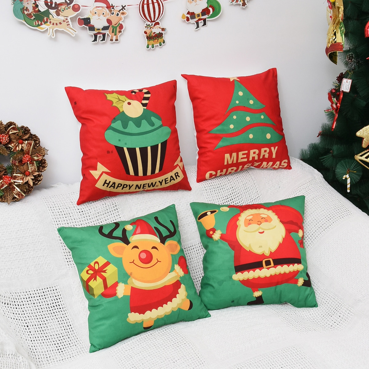 Kussenhoes 1 st Kerstpatroon