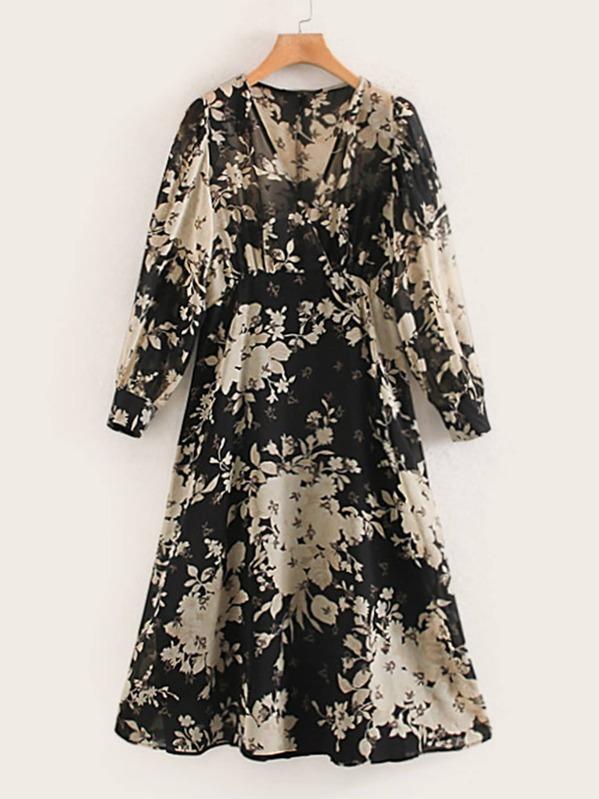 Surplice Front Floral Print High Waist Dress, Multicolor