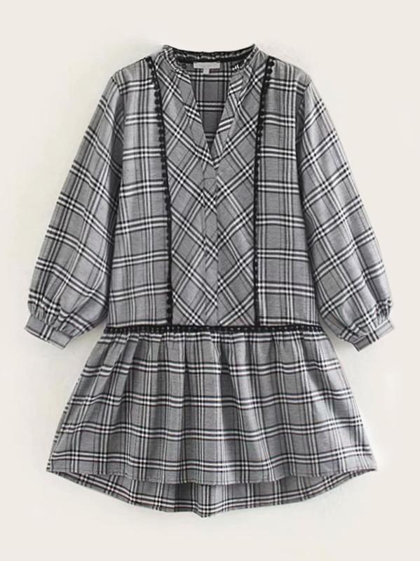 Notch Collar Dip Hem Plaid Dress, Grey
