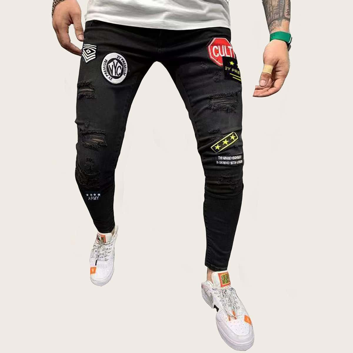 Zwart Casual Tekst Heren Jeans Gescheurd