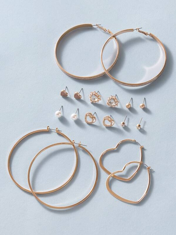 9pairs Hoop & Faux Pearl Stud Earring Set, Gold