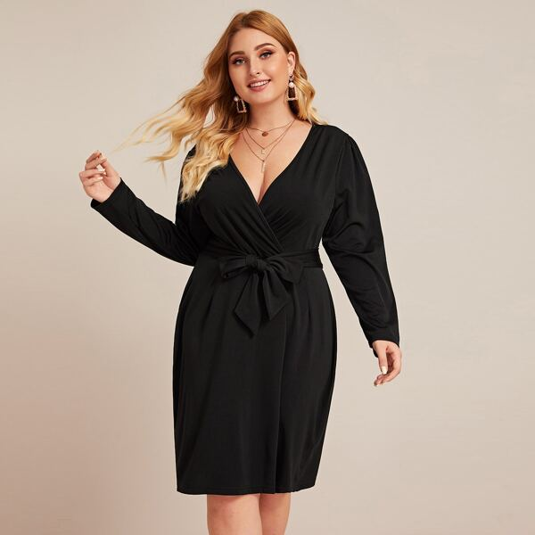 Plus Surplice Neck Self Tie Fitted Dress, Black