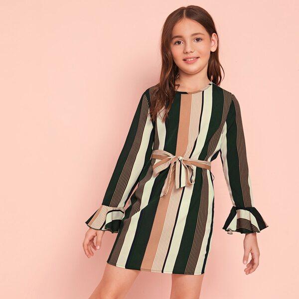Girls Self Belted Flounce Sleeve Striped Dress, Multicolor