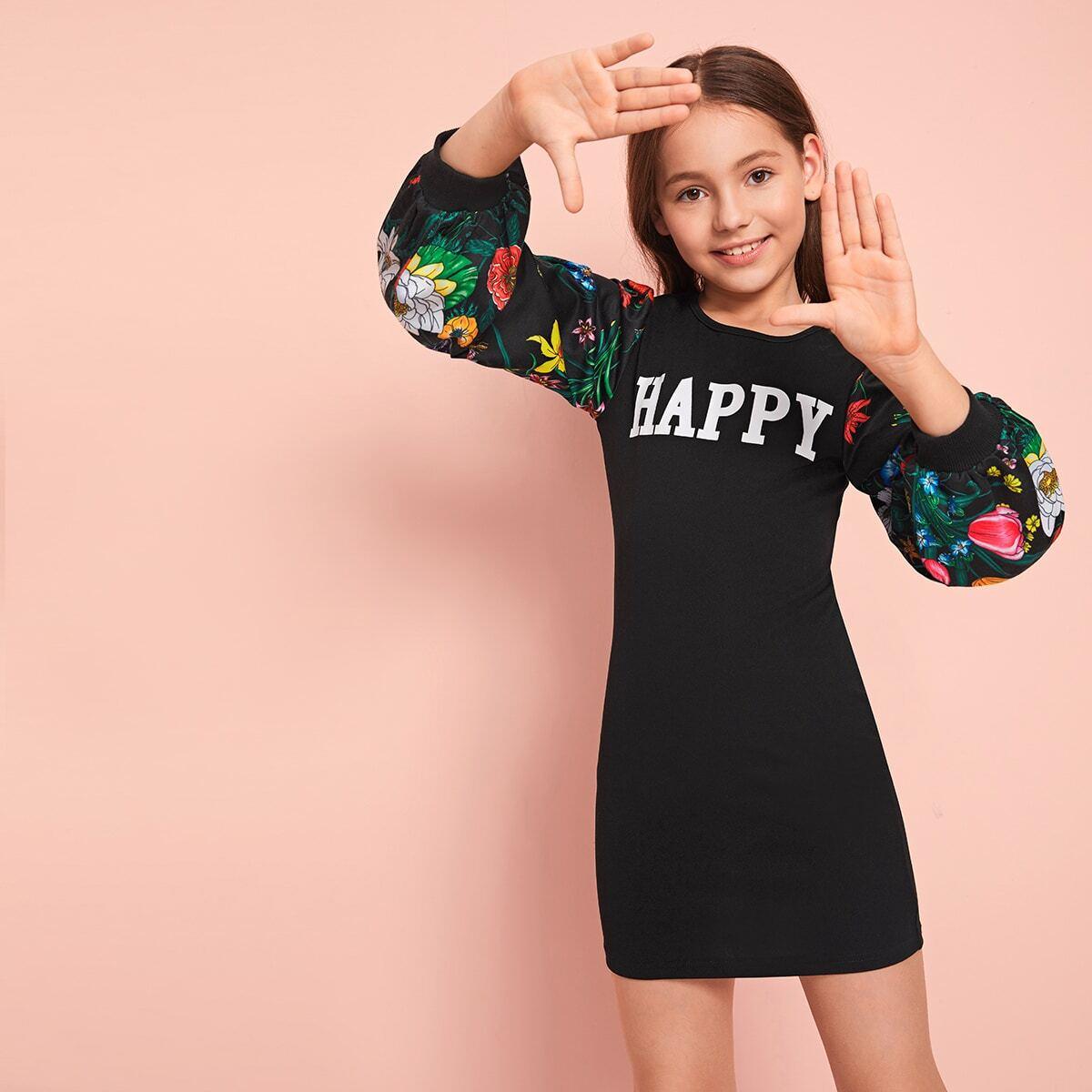 SHEIN / Mädchen Kleid mit Buchstaben Grafik und Blumen Muster