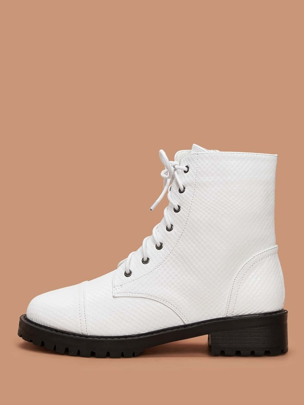 Lace-up Front Combat Boots, White