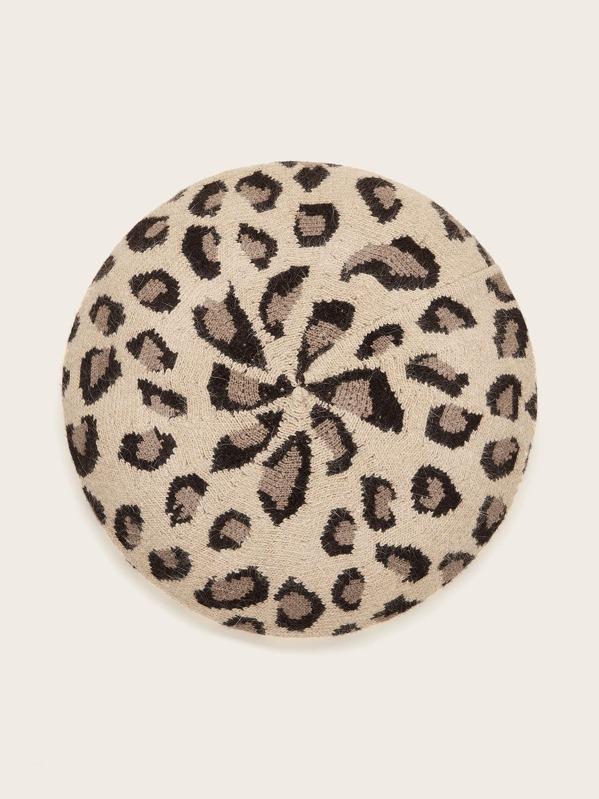 Leopard Knit Beret, Multicolor