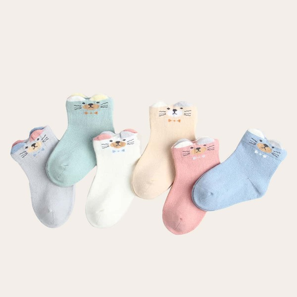 6pairs Baby Cartoon Pattern Socks, Multicolor