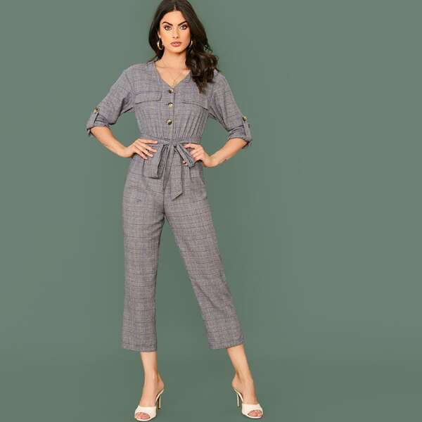 V-neck Flap Detail Roll Tab Sleeve Plaid Belted Jumpsuit, Grey