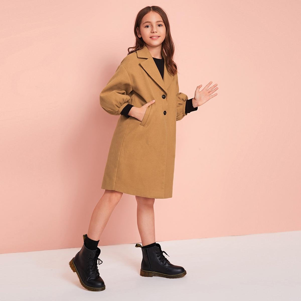 Пальто с оригинальным рукавом для девочек от SHEIN