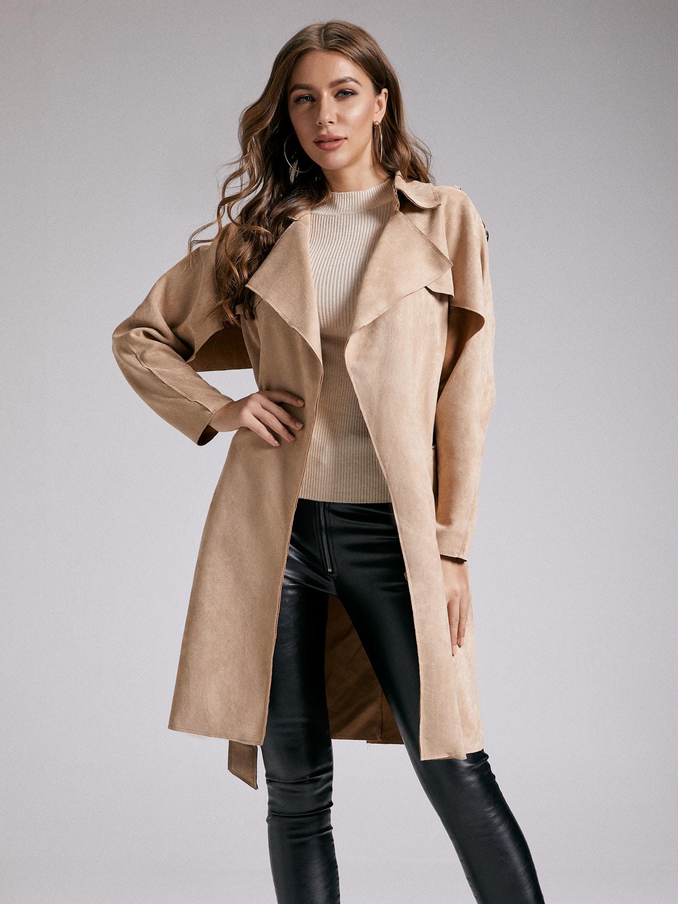 SBetro замшевое пальто-тренч с поясом