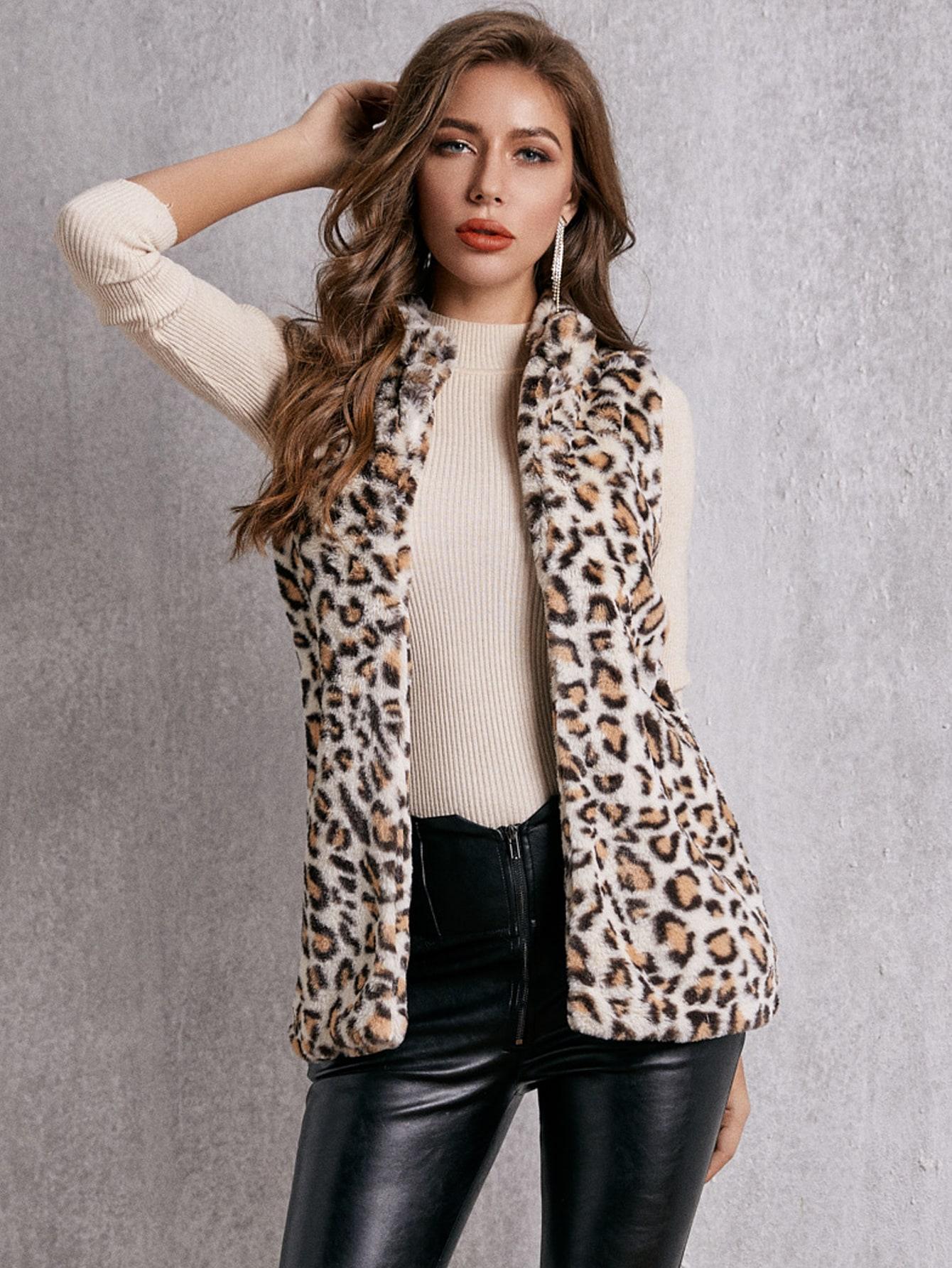 SBetro леопардовое плюшевое пальто-жилет