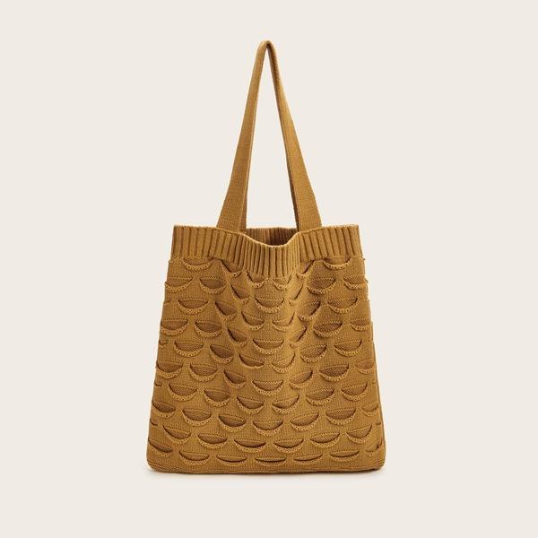 Ribbed Detail Knit Tote Bag, Yellow