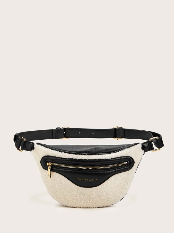 Letter Graphic Zip Front Fluffy Fanny Pack, Beige