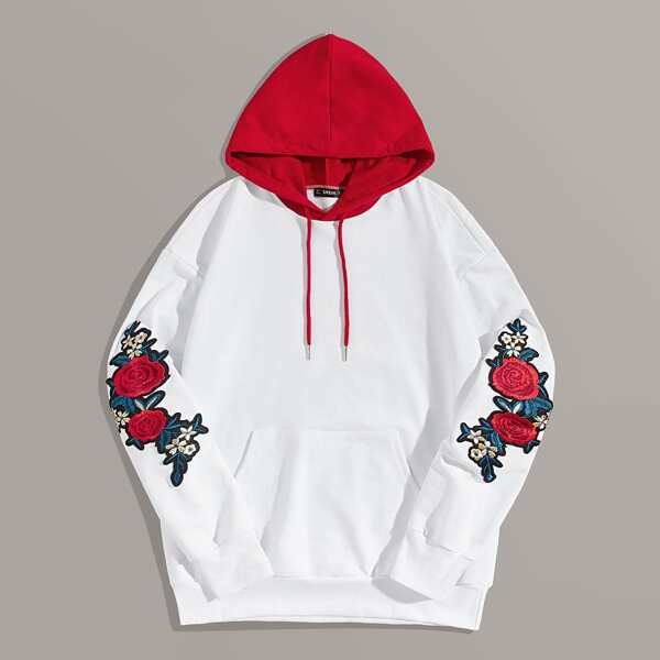 Men Pocket Front Floral Embroidered Patched Colorblock Hoodie, White