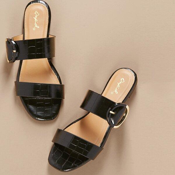 Double Band Buckle Detail Croc Slide Sandals, Black