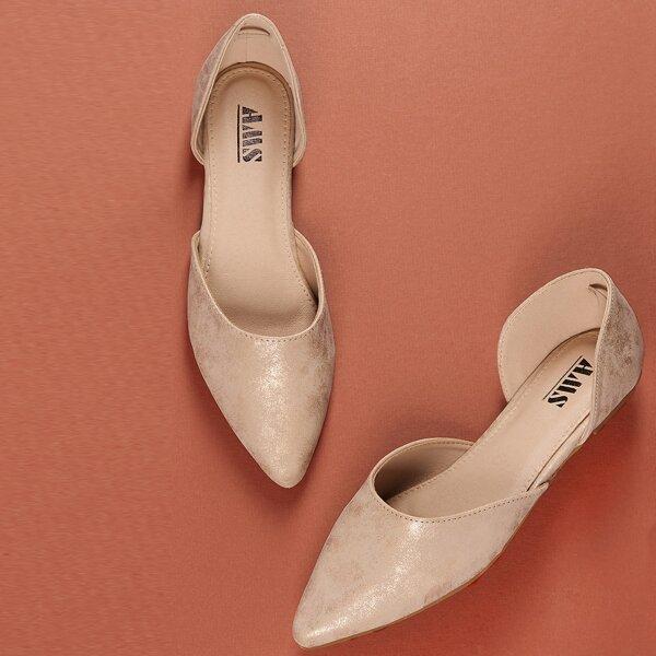 Metallic Pointed Toe Dorsay Style Ballerina Flats, Nude