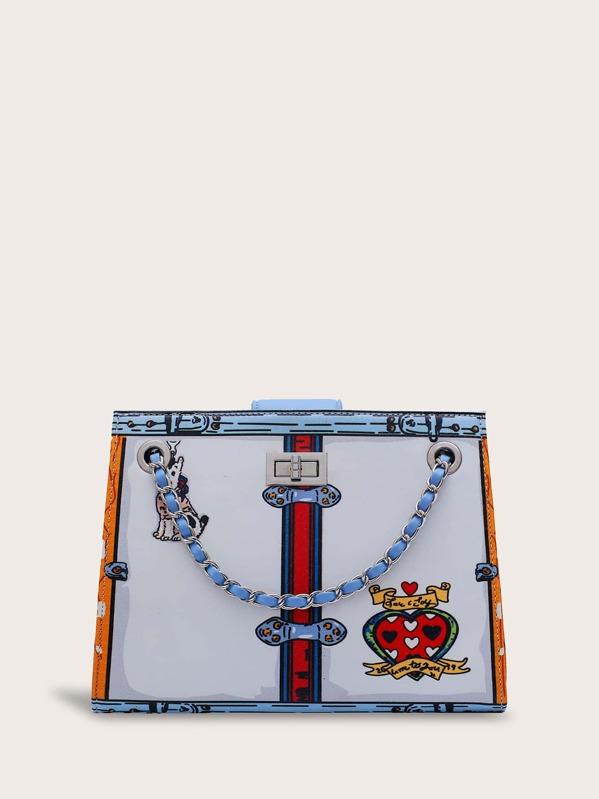 Twist Lock Heart Graphic Striped Tote Bag, Multicolor