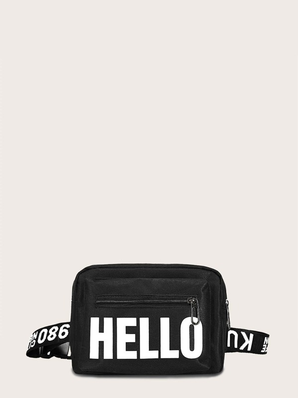 Letter Graphic Zip Front Fanny Pack, Black
