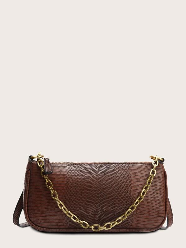 Lizard Embossed Chain Tote Bag, Brown