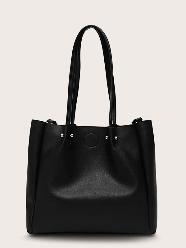 Metal Detail Tote Bag, Black