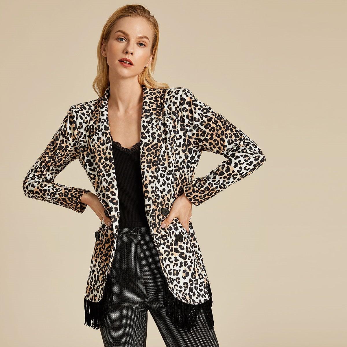 Пиджак с леопардовым принтом и бахромой от SHEIN