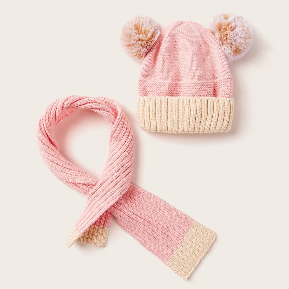 2st Peutermeisjes Fluffy Pom Pom Decor Muts & Sjaal