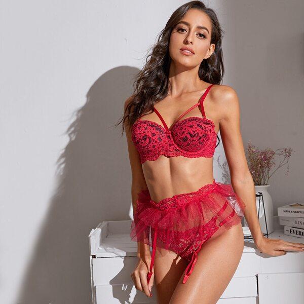 Floral Lace Underwire Garter Lingerie Set, Red