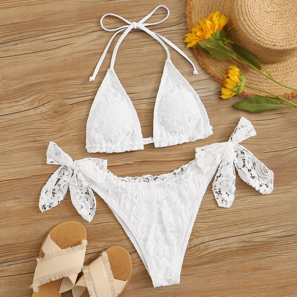 Floral Lace Triangle Top With Tie Side Bikini Set, White