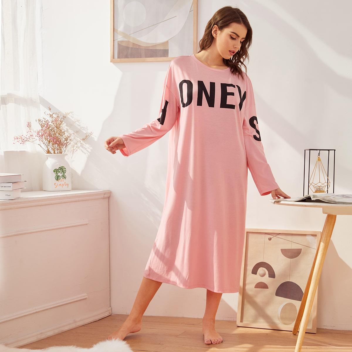 Roze  Casual Tekst Lounge jurken
