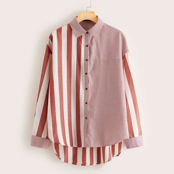 Striped High Low Hem Blouse, Red