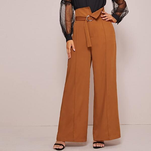 High Waist Belted Wide Leg Pants, Brown