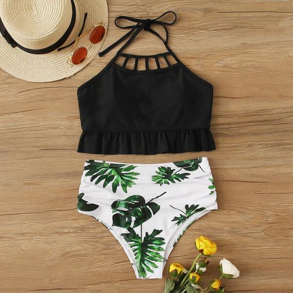 Frill Trim Top With Tropical High Waist Bikini, Multicolor