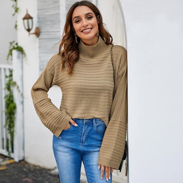 Rib-Knit High Neck Drop Shoulder Sweater, Khaki