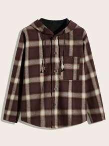 Drawstring   Plaid   Coat   Hood   Men