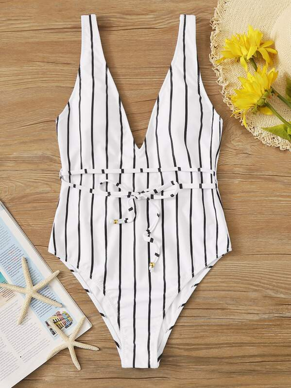 Striped Tie Waist One Piece Swimwear, Black and white